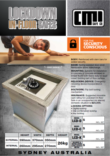 CMI LockDown In Floor Safe LCD-D Digital Lock